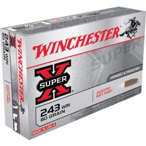 Winchester Super-X .243 Winchester Pointed Soft Point, 80 Grain (20 Rounds) - X2431