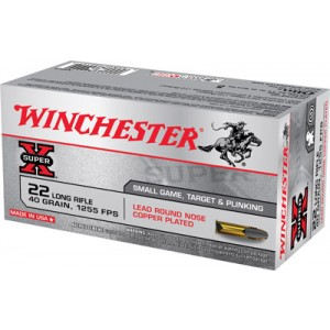 Winchester Super-X .22 Long Rifle Lead Round Nose, 40 Grain (50 Rounds) - X22LR