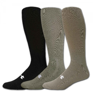 UA Men's HeatGear Boot Sock Color: Black Size: Large
