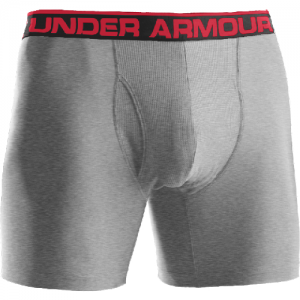 """Under Armour BoxerJock 9"""" Men's Underwear in True Gray Heather /Red - Medium"""
