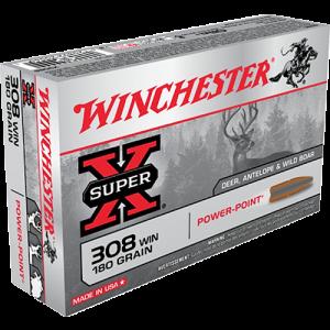 Winchester Super-X .308 Winchester/7.62 NATO Power Max Bonded, 180 Grain (20 Rounds) - X3086BP