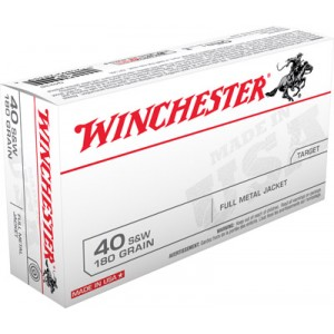 Winchester .40 S&W Full Metal Jacket, 180 Grain (50 Rounds) - Q4238