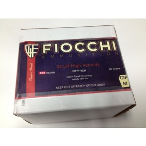 Fiocchi Ammunition .22 Long Rifle Round Nose, 40 Grain (525 Rounds) - 22FFHVCR-525
