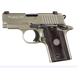 """Sig Sauer P238 Micro-Compact HD Nickel .380 ACP 6+1 2.7"""" Pistol in Stainless (Blackwood Medallion Inlay Grip) - 238380HDNI"""
