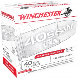 Winchester Ammunition .40 S&W Full Metal Jacket, 165 Grain (200 Rounds) - USA40W