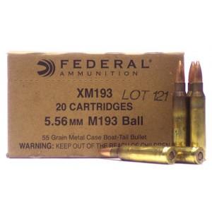 Federal Cartridge .223 Remington/5.56 NATO Boat Tail Metal Case, 55 Grain (20 Rounds) - XM193