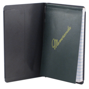 Padfolio with Writing Pad, Black Alum, Pocket Size, 3.5 x 5.5 aper