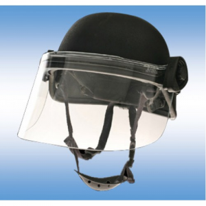 A complete field mounting system adding face protection to a miltary helmet.   This system utilizes a .150  Polycarbonate window cut off 2  shorter to accomadate the use of gas masks under the faceshield. Liquid seal and mountng straps.