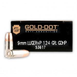 Speer Gold Dot 9mm Hollow Point +P, 124 Grain (1000 Rounds) - 53617CS