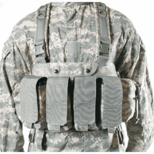 Commando Chest Harness  Commando Chest Harness Black Each of the four pockets holds up to three AK-47, M-16, or two M-1 magazines. Each pouch has a divider to prevent magazine noise and slapping when quiet movement is imperative. The two end utility pouch
