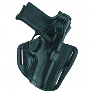 Three Slot Pancake Holster  Three Slot Pancake Holster Black Finish Fits some S&W Double-Action-Only pistols incl. 1086, 3953, 3954, 4043, 4046, 4583, 4586, 5943, 5944, 5946, all with short round trigger guard, incl. TSW WITHOUT RAIL. - B803-404