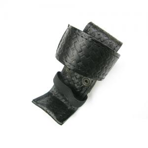 Boston Leather Deluxe Adjustable Radio Holder in Black Basket Weave - 54863