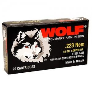 Wolf Performance Ammo Performance .223 Remington/5.56 NATO Bimetal Jacket, 62 Grain (500 Rounds) - 22362HP
