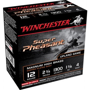 """Winchester Super Pheasant Plated HV .12 Gauge (2.75"""") 4 Shot Copper-Plated Lead (250-Rounds) - X12PH4"""