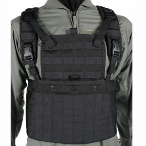 STRIKE Commando Recon Chest Ha  S.T.R.I.K.E. Commando Recon Chest Harness, Black, Front plate pocket with inverted T elastic keeper can also accommodate bib when plates are not in use for a lower profile rig, Plate pocket holds plates up to 10.5 x 13.25,