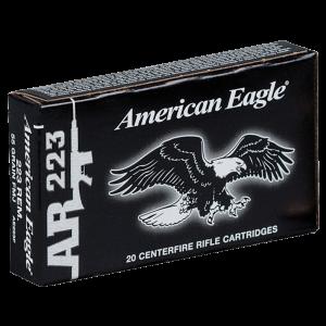 Federal Cartridge American Eagle Target .223 Remington/5.56 NATO Full Metal Jacket Boat Tail, 55 Grain (20 Rounds) - AE223F