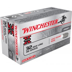 Winchester Super-X .32 S&W Long Lead Round Nose, 98 Grain (50 Rounds) - X32SWLP