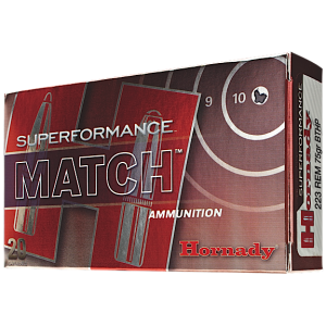 Hornady Superformance Match .223 Remington/5.56 NATO Boat Tail Hollow Point, 75 Grain (20 Rounds) - 81264