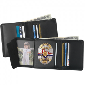 Strong Leather Hidden Badge Wallet in Black Leather - 79520-2452