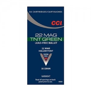 CCI 22 Winchester Magnum Rimfire 30 Grain TNT Green Jacketed Hollow Point, 50 Round Box, 60