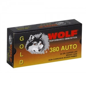 Wolf Performance Ammo Gold .380 ACP Jacketed Hollow Point, 94 Grain (50 Rounds) - G380HP1