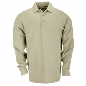 5.11 Tactical Tactical Men's Long Sleeve Polo in Silver Tan - Large