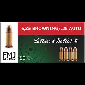 Magtech Ammunition .25 ACP Full Metal Jacket, 50 Grain (50 Rounds) - SB25A