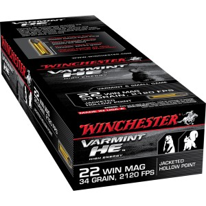 Winchester 22 Magnum Varmint HE Jacketed Hollow Point 34 Grain 50 Round Box S22WM