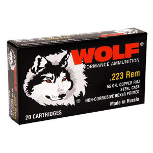 Wolf Performance Ammo Performance .223 Remington/5.56 NATO Full Metal Jacket, 55 Grain (500 Rounds) - 22355CS