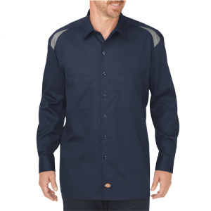 Dickies Performance Men's Long Sleeve Uniform Shirt in Dark Navy/Smoke - X-Large