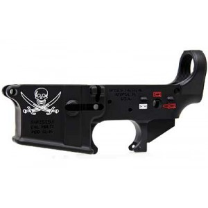 Spike's Tactical Stripped Lower, Calico Jack Flag, Color Filled, Semi-automatic, 223 Rem/556nato, Black Finish Stls016-ce