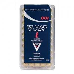 CCI 22 Winchester Magnum Rimfire 30 Grain Poly-Tip V-Max Bullet, 50 Round Box, 0073