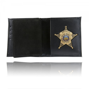 BOSTON BOOK STYLE BADGE WALLET WITH 3 CREDIT CARD SLOTS SOFT LEATHER BLACKINTON #B1544