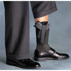 Galco International Cop Ankle Band Left-Hand Ankle Holster for Glock 26 in Black (Large) - CAB3L