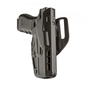 Safariland 7TS ALS Low-Ride Level I Right-Hand Belt Holster for Glock 17 in STX Plain (W/ Las-Tac 2) - 7390-832-411