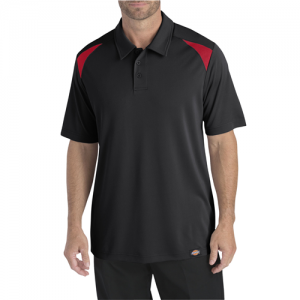 Dickies Team Performance Men's Short Sleeve Polo in Black/English Red - Large