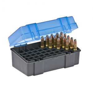 Small Rifle Ammo Case holds 50 rounds of .22-250, .250 Savage, .30-30 Win., .32 Win., and .233 Caliber Bullets