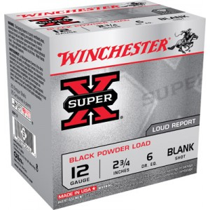 Winchester 12 Gauge Super X Black Powder Blanks 25 Count Box XBP12