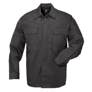 5.11 Tactical Ripstop TDU Men's Long Sleeve Shirt in Black - X-Large