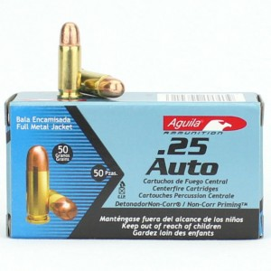 Aguila .25 ACP Full Metal Jacket, 50 Grain (50 Rounds) - 1E252110