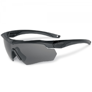Crossbow 2X - Black frames. Two fully-assembled Crossbow eyeshields: (1) w/Clear lens & (1) w/Smoke Gray lens. Small zippered hard case & microfiber cleaning pouch