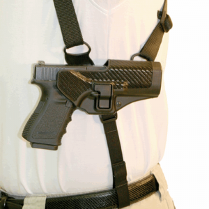 SHOULDER HARNESS W/PLAT  Serpa Shoulder Harness  Left Black Medium, Mount your SERPA holster on the underarm platform in a horizontal position, Secure carry and natural drawing motion, Enables one-handed reholstering, Made for both medium and large framed
