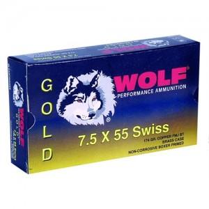 Wolf Performance Ammo Gold 7.5X55 Swiss Full Metal Jacket, 174 Grain (20 Rounds) - G75SFMJ1
