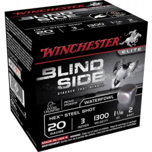 "Winchester Blindside Waterfowl .20 Gauge (3"") 2 Shot Steel (250-Rounds) - SBS2032"