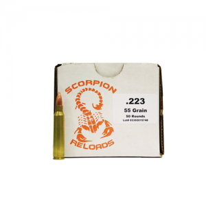 Scorpion .223 Remington Full Metal Jacket, 55 Grain (50 Rounds) - SRA223