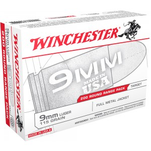 Winchester Ammunition 9mm Full Metal Jacket, 115 Grain (200 Rounds) - USA9W