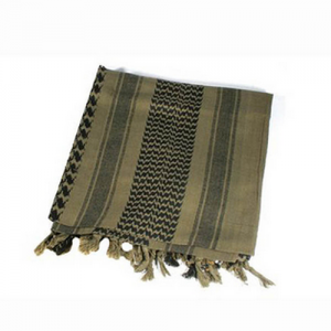 Tactical Shemagh, Olive/Black, Traditional desert headwear designed to protect the head and neck from sun and sand, Currently in use with US and Coalition forces in Iraq and Afghanistan, 100% cotton