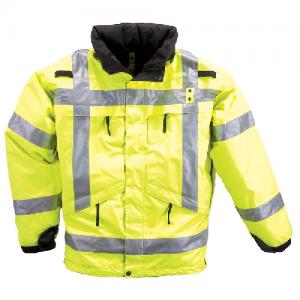 5.11 Tactical 3-In-1 Reversible High-Viz Parka Men's Full Zip Coat in Reflective Yellow - Small