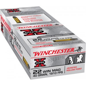 Winchester 22 Super X Rimfire Magnum Jacketed Hollow Point 40 Grain 50 Round Box X22MH