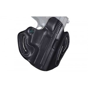 "Desantis Gunhide 2 Speed Scabbard Right-Hand Belt Holster for 1911 Defender, Officer in Black Leather (3.5"") - 002BA19Z0"